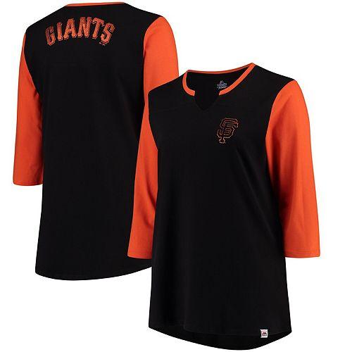 Women's Majestic Black/Orange San Francisco Giants Plus Size Above Average 3/4-Sleeve Raglan T-Shirt