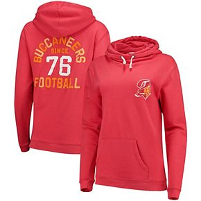 Women's Junk Food Red Tampa Bay Buccaneers Throwback Sunday Funnel Neck Pullover Hoodie