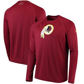 Men's Under Armour Burgundy Washington Redskins Combine Authentic Primary Logo Tech Long Sleeve T-Shirt