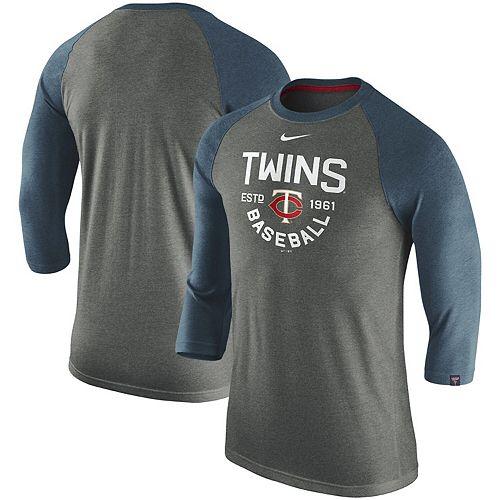 Men's Nike Heathered Charcoal Minnesota Twins Tri-Blend 3/4-Sleeve Raglan T-Shirt