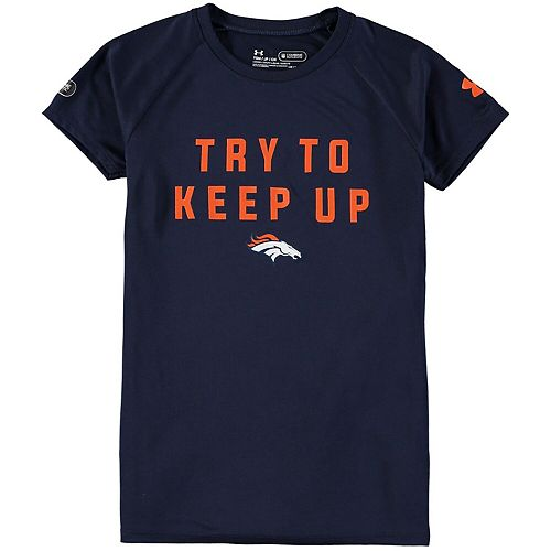 Girls Under Armour Navy Denver Broncos Try To Keep Up Tech T-Shirt