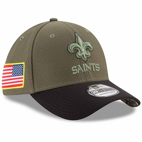 Men's New Era Olive New Orleans Saints 2017 Salute To Service 39THIRTY Flex Hat