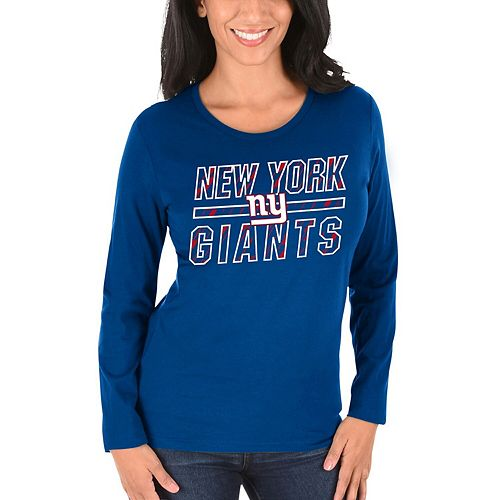 Women's Majestic Royal New York Giants Quick Out Long Sleeve T-Shirt