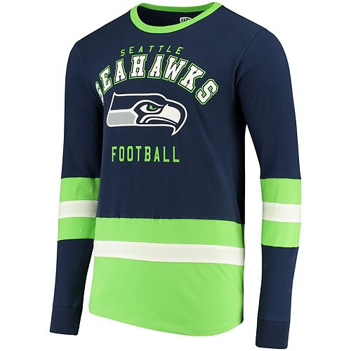 Men's G-III Sports by Carl Banks College Navy/Neon Green Seattle Seahawks Even Strength Long Sleeve T-Shirt