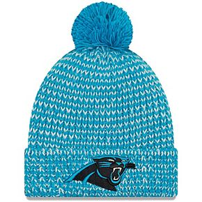 Women's New Era Blue Carolina Panthers Frosty Cuff Pom Knit Hat