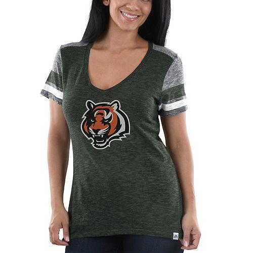 Women's Majestic Charcoal/Heathered Gray Cincinnati Bengals Classic Moment T-Shirt