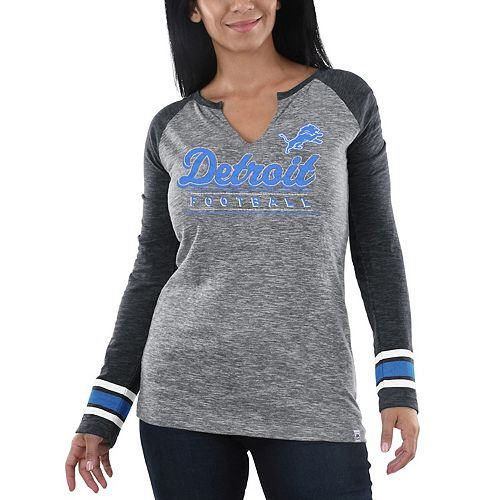 Women's Majestic Heathered Gray/Charcoal Detroit Lions Lead Play Long Sleeve V-Notch T-Shirt