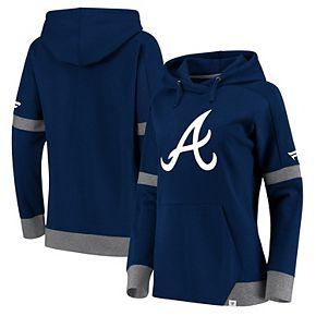 Women's Fanatics Branded Navy/Gray Atlanta Braves Iconic Fleece Pullover Hoodie
