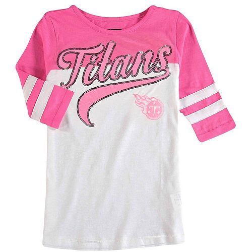 Girls Youth 5th & Ocean by New Era White/Pink Tennessee Titans Jersey Slub 3/4-Sleeve T-Shirt