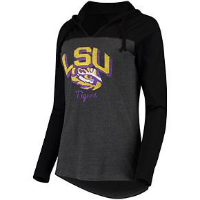 Women's Charcoal LSU Tigers Knockout Colorblock Hooded Long Sleeve T-Shirt