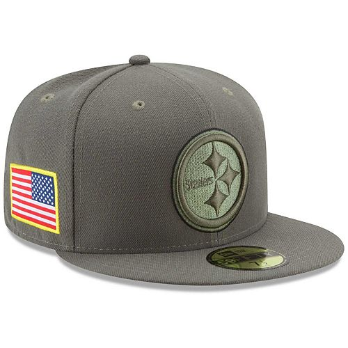 Men's New Era Olive Pittsburgh Steelers 2017 Salute To Service 59FIFTY Fitted Hat