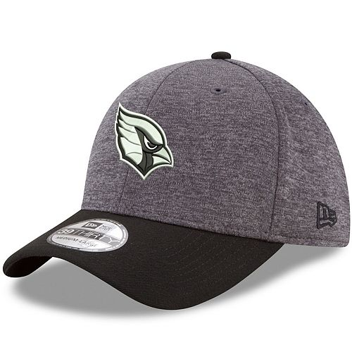 Men's New Era Heathered Gray/Black Arizona Cardinals Black Logo Shadow Tech 39THIRTY Flex Hat