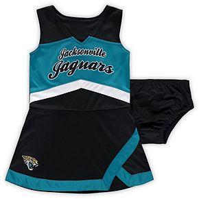 Girls Preschool Black/Teal Jacksonville Jaguars Cheer Captain Jumper Dress