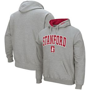 Men's Colosseum Heather Gray Stanford Cardinal Arch & Logo Tackle Twill Pullover Hoodie