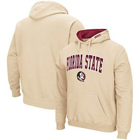 Men's Colosseum Vegas Gold Florida State Seminoles Arch & Logo Tackle Twill Pullover Hoodie