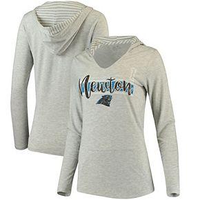 Women's Cam Newton Gray Carolina Panthers Pocket Name & Number Hooded T-Shirt