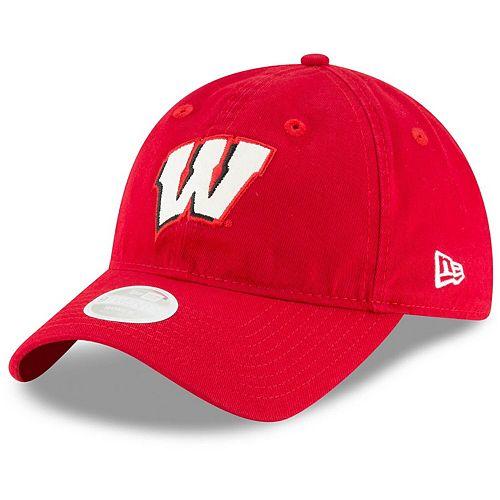 Women's New Era Red Wisconsin Badgers Team Logo Glisten 9TWENTY Adjustable Hat