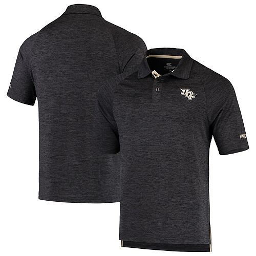 Men's Colosseum Heathered Black UCF Knights Down Swing Polo