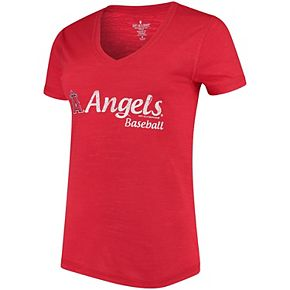 Women's Soft As A Grape Red Los Angeles Angels Double Steal Tri-Blend V-Neck T-Shirt
