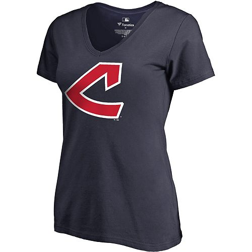 Women's Fanatics Branded Navy Cleveland Indians Plus Size Cooperstown Collection Huntington V-Neck T-Shirt