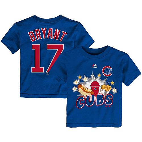 Toddler Majestic Kris Bryant Royal Chicago Cubs Snack Attack Name & Number T-Shirt