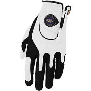 Men's White Baltimore Ravens Left Hand Golf Glove & Ball Marker Set