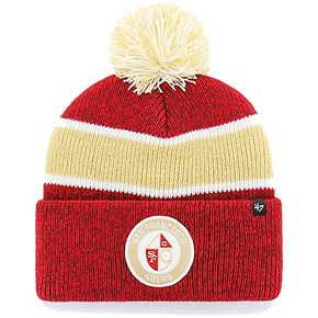 Men's '47 Scarlet San Francisco 49ers Noreaster Cuffed Knit Hat with Pom