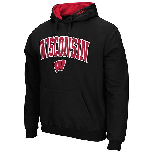 Men's Colosseum Black Wisconsin Badgers Arch & Logo Tackle Twill Pullover Hoodie
