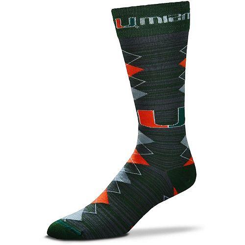 Men's For Bare Feet Miami Hurricanes Fan Nation Crew Socks