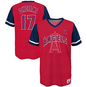 Youth Majestic Shohei Ohtani Red/Navy Los Angeles Angels Play Hard Player V-Neck Jersey T-Shirt