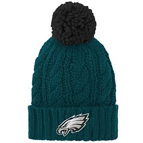 Girls Youth Midnight Green Philadelphia Eagles Team Cable Cuffed Knit Hat with Pom