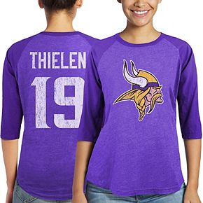Women's Majestic Adam Thielen Purple Minnesota Vikings Player Name & Number Tri-Blend 3/4-Sleeve Raglan T-Shirt