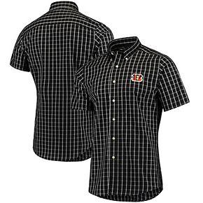 Men's Antigua Black/White Cincinnati Bengals Endorse Woven Short Sleeve Button-Down Shirt