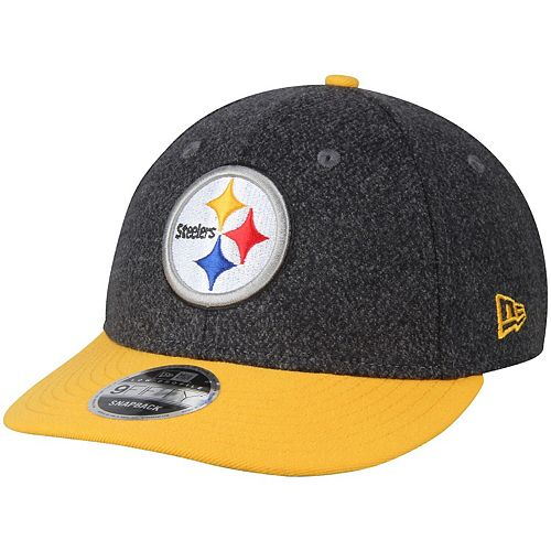 Men's New Era Black/Gold Pittsburgh Steelers Classic Trim Snap Low Profile 9FIFTY Adjustable Hat