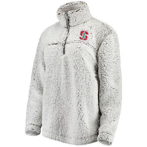 Women's Gray Stanford Cardinal Sherpa Super-Soft Quarter-Zip Pullover Jacket