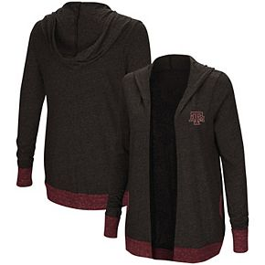 Women's Colosseum Charcoal Texas A&M Aggies Steeplechase Open Cardigan with Hood