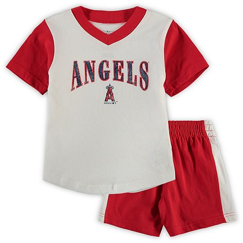 Toddler White/Red Los Angeles Angels Little Hitter V-Neck T-Shirt & Shorts Set