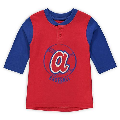 Toddler Red/Royal Atlanta Braves Cooperstown Collection Legacy Henley 3/4-Sleeve T-Shirt