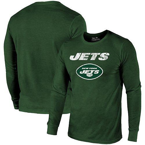 New York Jets Majestic Threads Lockup Tri-Blend Long Sleeve T-Shirt - Green