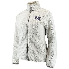 Women's Heathered Gray Michigan Wolverines Sherpa Full-Zip Jacket