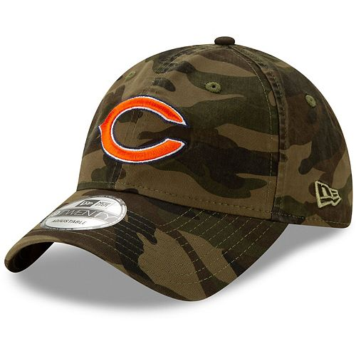 Men's New Era Camo Chicago Bears Core Classic Woodland Camo Logo 9TWENTY Adjustable Hat