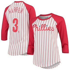 Women's Majestic Threads Bryce Harper White/Red Philadelphia Phillies Softhand Cotton Pinstripe 3/4-Sleeve Raglan Player Name & Number T-Shirt