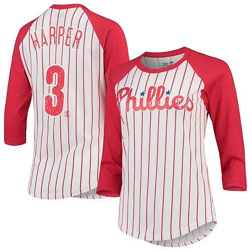 Women's Majestic Threads Bryce Harper White/Red Philadelphia Phillies Softhand Cotton Pinstripe 3/4-Sleeve Raglan Player Name & Number T-Shirt