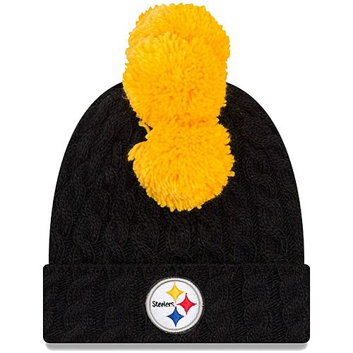 Preschool New Era Black Pittsburgh Steelers Quad 2 Cuffed Knit Hat with Pom