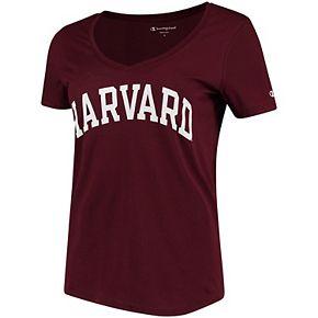 Women's Champion Maroon Harvard Crimson Basic Arch V-Neck T-Shirt