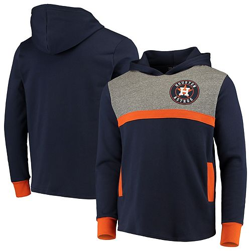 Houston Astros Majestic Threads Colorblocked Pullover Hoodie - Navy/Orange
