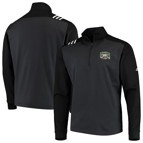 Men's adidas Charcoal/Black Ohio Bobcats 3-Stripe Half-Zip Pullover Jacket