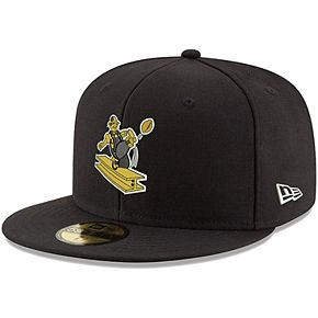 Men's New Era Black Pittsburgh Steelers Omaha Throwback 59FIFTY Fitted Hat