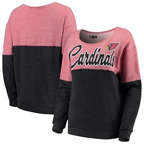 Women's 5th & Ocean by New Era Cardinal/Black Arizona Cardinals Fleece Tri-Blend Pullover Sweatshirt