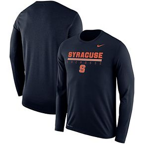 Men's Nike Navy Syracuse Orange Lacrosse Drop Legend Long Sleeve Performance T-Shirt